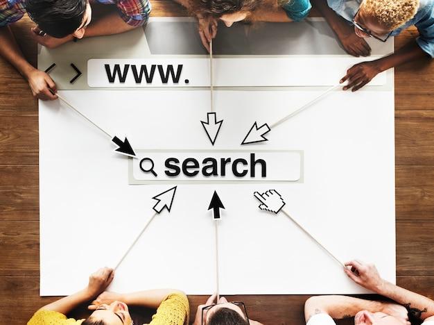 Webpagina met grafische afbeelding van de zoekbalk Premium Foto