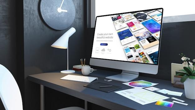 Website bouwer werkplek interieur. 3d-weergave Premium Foto