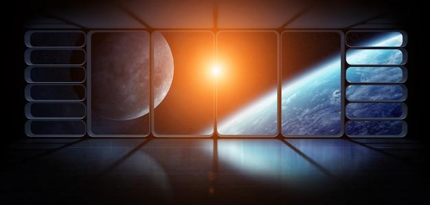 Weergave van de aarde vanuit een groot ruimteschip venster 3d-rendering elementen van deze afbeelding geleverd door nasa Premium Foto