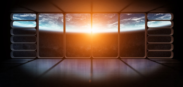 Weergave van de aarde vanuit een groot ruimteschip venster 3d-rendering Premium Foto