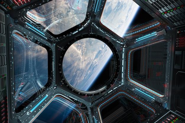 Weergave van de planeet aarde vanuit een ruimtestation venster 3d-rendering Premium Foto