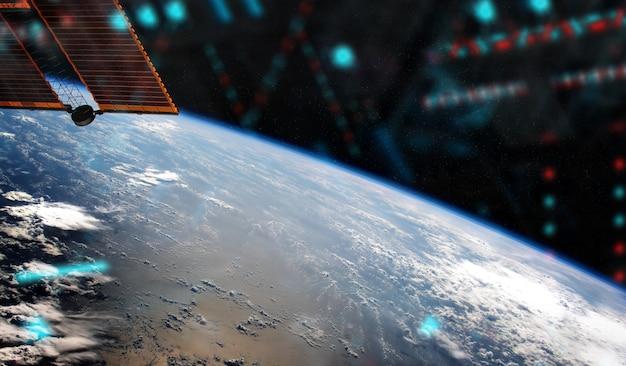 Weergave van de planeet aarde vanuit een ruimtestation venster tijdens een zonsopgang elementen van deze afbeelding geleverd door nasa Premium Foto