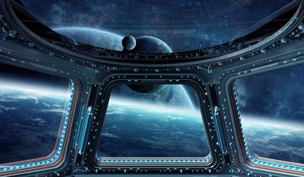 Weergave van de ruimte vanuit een 3d-weergave van een ruimtestationvenster Premium Foto