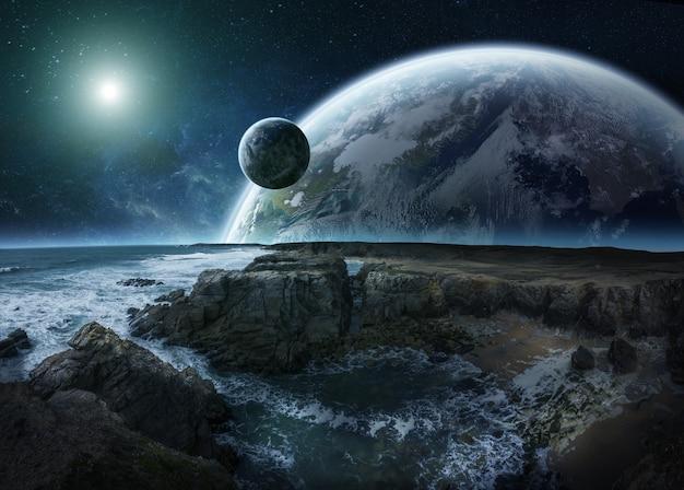 Weergave van verre planeet systeem van kliffen 3d-rendering elementen van deze afbeelding geleverd door nasa Premium Foto