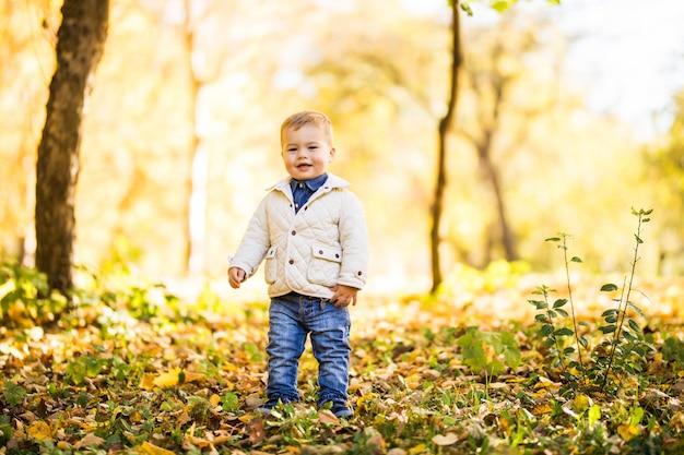 Weinig jongen die in geel gebladerte speelt. herfst in het stadspark jonge jongen. Gratis Foto