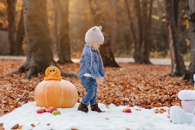 Weinig leuk kind in park op geel blad met pompoen in de herfst Premium Foto