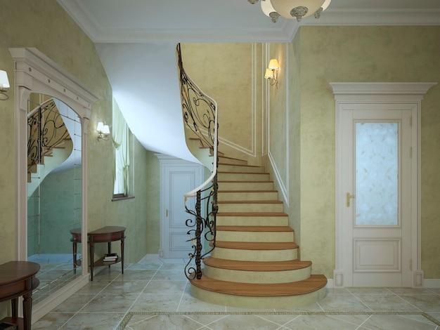 Wenteltrap in art deco gang en donkere leuningen en lichte houten trappen. Premium Foto