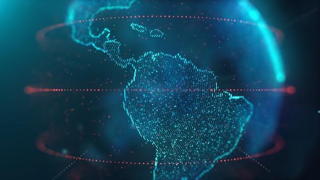 Wereldkaart datatechnologie Premium Foto
