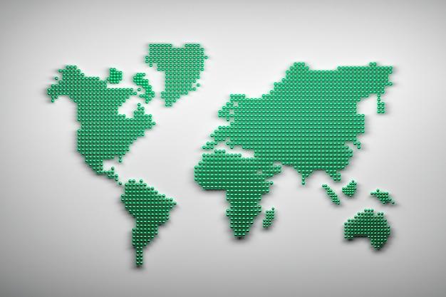 Wereldkaart gemaakt van groene ballen Premium Foto