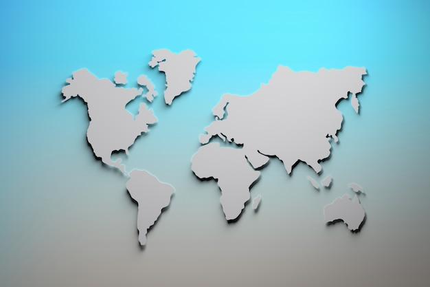 Wereldkaart in blauw en grijs Premium Foto