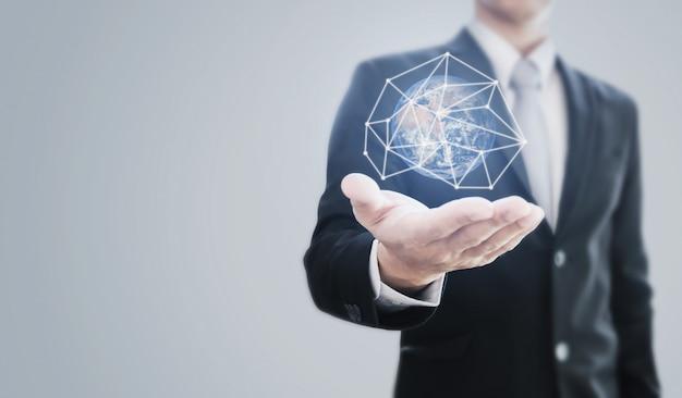 Wereldwijde business en bescherming van de wereld. Premium Foto