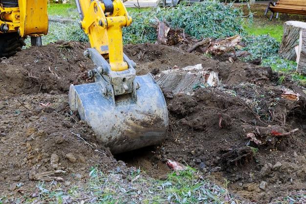 Werfwerk bulldozer land vrijmaken van oude bomen, wortels en takken met graafmachines in stedelijke omgeving. Premium Foto