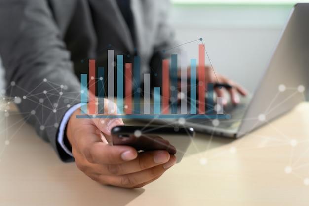 Werk hard data analytics statistieken informatie Premium Foto