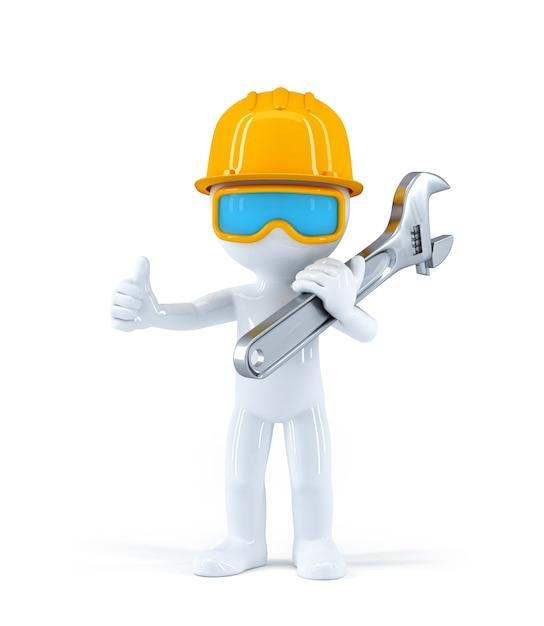 Werknemer met pijp moersleutel Gratis Foto