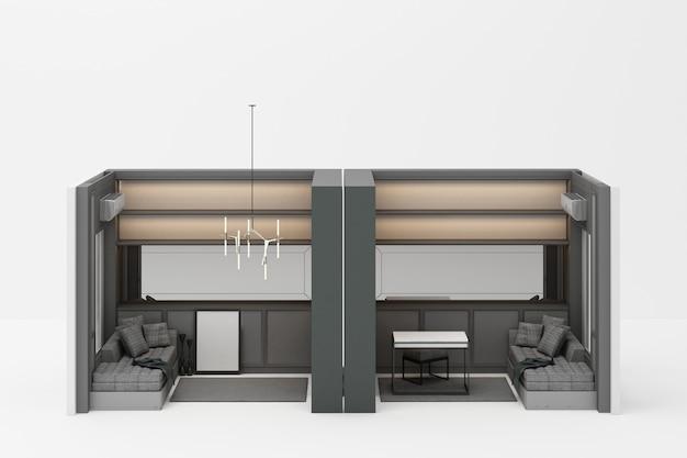 Werkruimte in moderne klassieke stijl met grijze meubilairtoon bij het witte 3d teruggeven Premium Foto