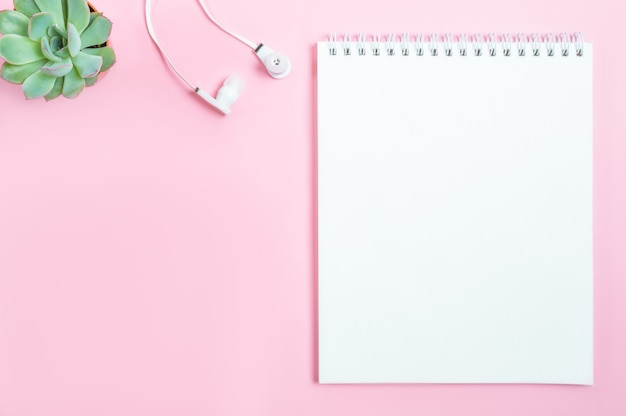 Werkruimte: kladblok, hoofdtelefoons en succulente bloem op roze achtergrond Premium Foto