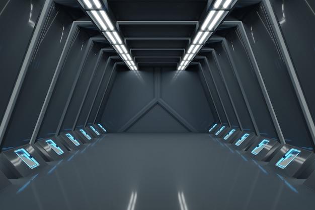 Wetenschapsachtergrond fictiebinnenland die sc.i-fi ruimteschipgangen blauw licht teruggeven. Premium Foto