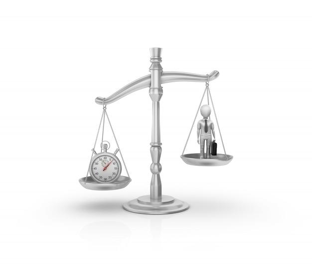 Wettelijke weegschaal met stopwatch en cartoon zakenman Premium Foto