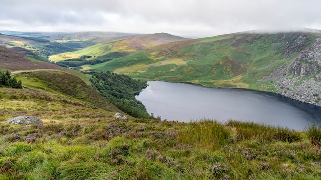 Wicklow-manierlandschap lough tay lake in een bewolkte dag. Premium Foto