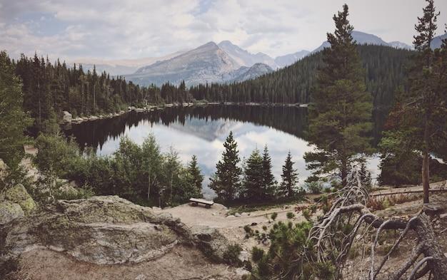 Wide shot van een grote vijver omgeven door bomen met een berg op de achtergrond Gratis Foto
