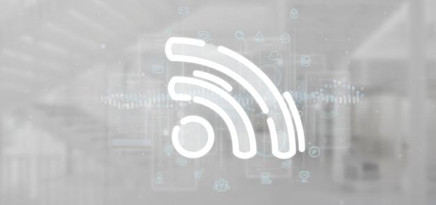 Wifi-pictogram met overal gegevens Premium Foto