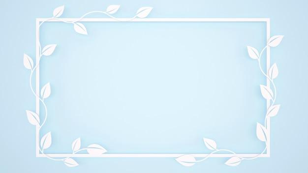 Wijnstokbladeren en wit kader op lichtblauwe achtergrond Premium Foto