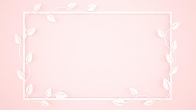 Wijnstokbladeren en wit kader op lichtrose achtergrond Premium Foto