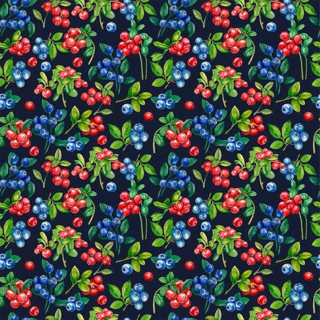 Wild bessen naadloos patroon. lingonberry, blauwe bosbes Premium Foto