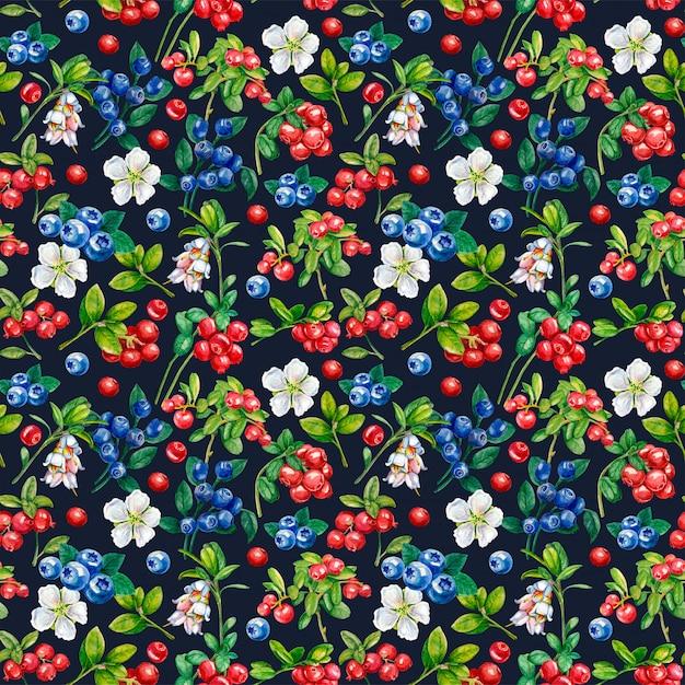 Wilde bessen naadloze patroon. bosbessensap, bosbes, bloemen Premium Foto