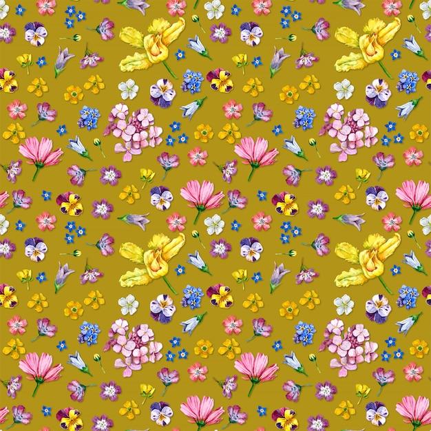 Wilde bloemen naadloze patroon op gele achtergrond Premium Foto