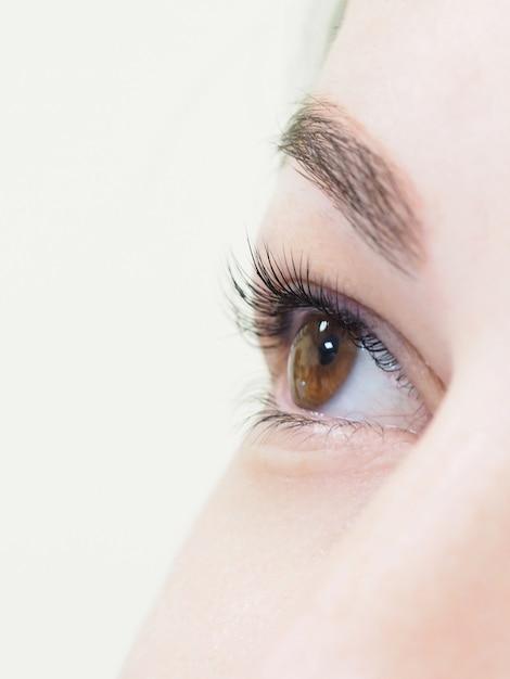 Wimperverlenging. het oog van een vrouw met wimpers. Premium Foto