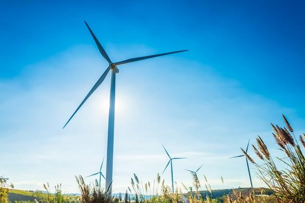 Windturbines op heuvel in het khao kho-park, thailand. schone energie, eco-energie, groene energie. Premium Foto