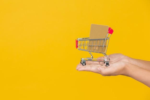 Winkelende mooie vrouw die een kar in haar hand op een geel houdt. Gratis Foto
