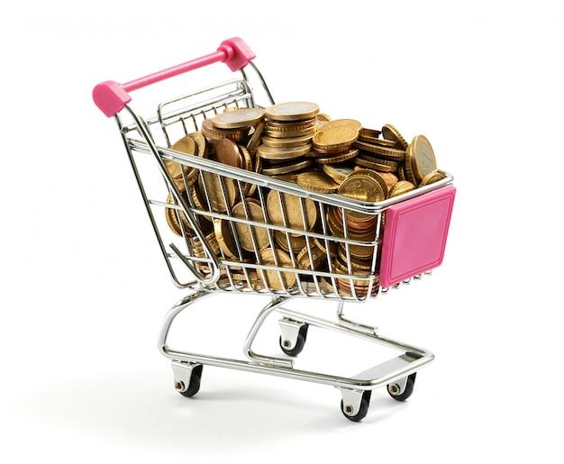 Winkelwagen vol gouden munten Premium Foto