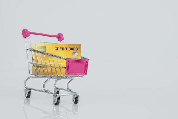 Winkelwagentjemodel met de creditcard. e-commerce winkelen. Premium Foto