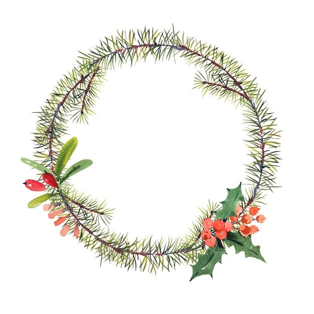 Winter aquarel kerstmis ronde frame met boomtakken en bessen. Premium Foto
