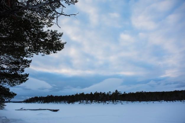 Winter in het inari-meer Premium Foto