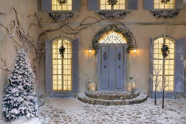 Winter kerstdecoratie. Premium Foto