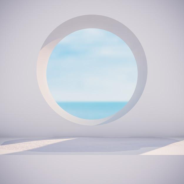 Winters tafereel met geometrische vormen, cirkelframe. zeezicht. 3d render achtergrond. Premium Foto