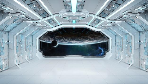 Wit blauw ruimteschip futuristisch interieur met raam uitzicht op de planeet aarde Premium Foto