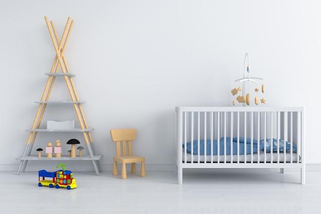 Wit kinderkamer interieur voor mockup Premium Foto