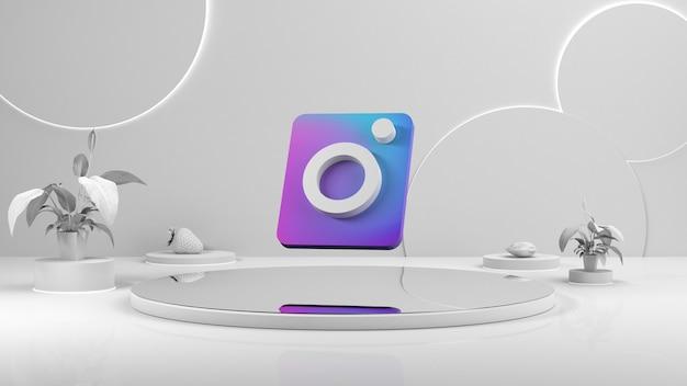 Wit leeg podium. het voetstuk van het podium. instagram-pictogram in het midden van de weergave Premium Foto