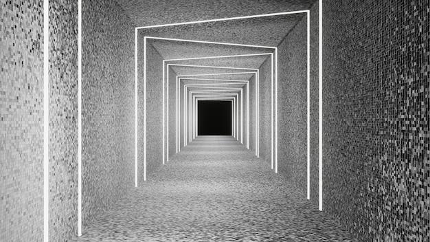 Wit marmer en neon wit marmeren gangmuur 3d-rendering Premium Foto