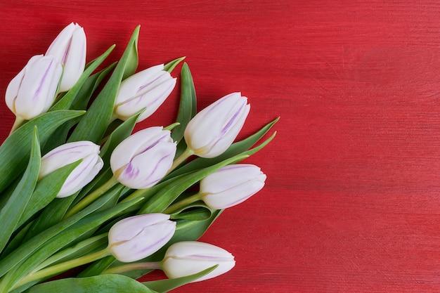 Wit tulpenboeket op rode houten achtergrond. Premium Foto