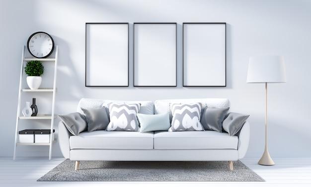 Wit woonkamerbinnenland in skandinavische stijl. 3d-rendering Premium Foto
