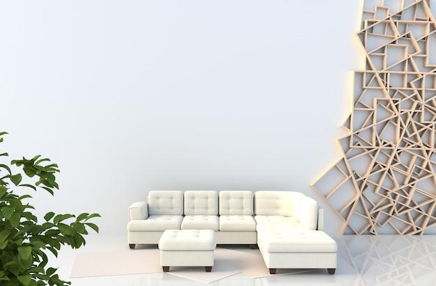 Wit woonkamerdecor met bank, houten plankenmuur Premium Foto