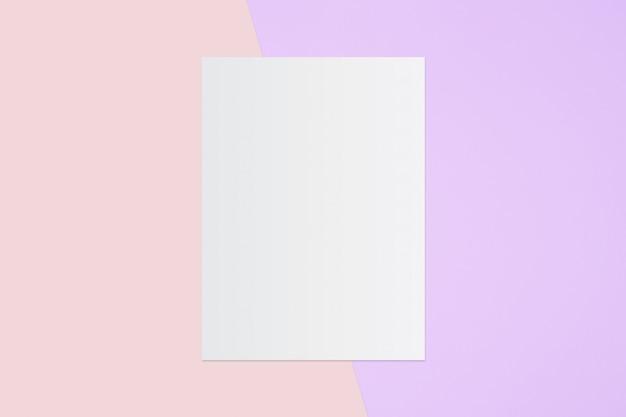 Witboek en ruimte voor tekst op pastel kleur achtergrond, minimale concept Premium Foto