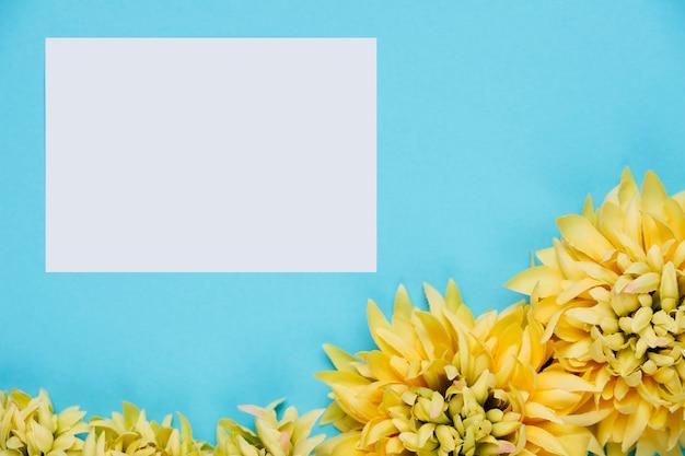 Witboek op blauwe achtergrond met bloemen Gratis Foto