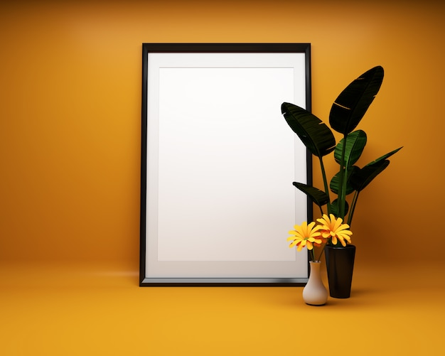 Witte afbeeldingsframe op oranje achtergrond met plant mock up. 3d-rendering Premium Foto