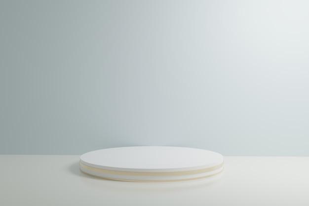Witte en blauwe cabine 3d teruggevende muur als achtergrond Premium Foto